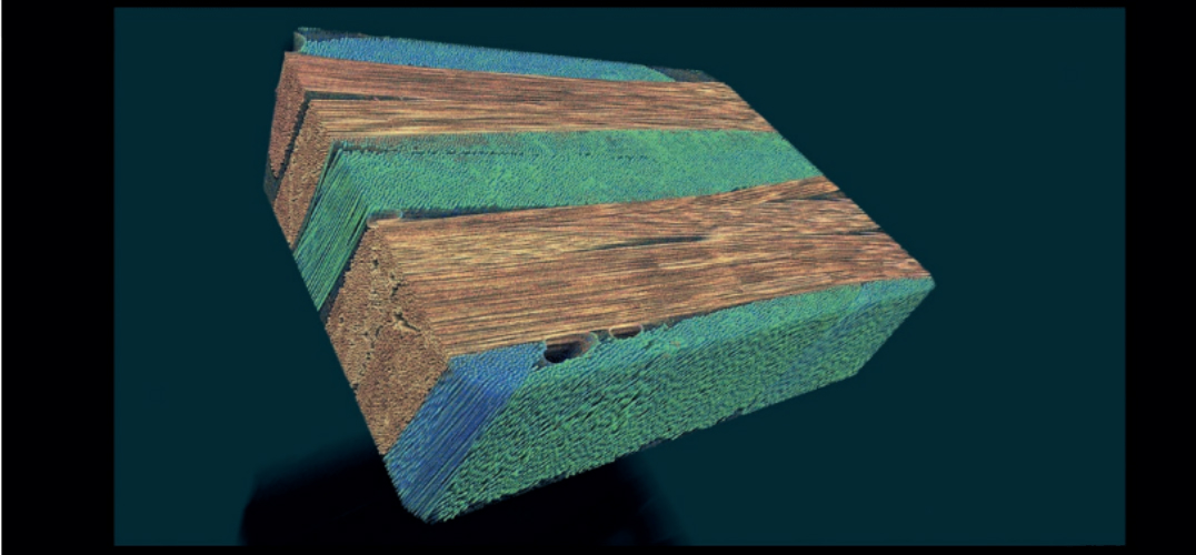 Micro-CT of CFRP (carbon-fiber reinforced polymer) scanned on SkyScan 2214